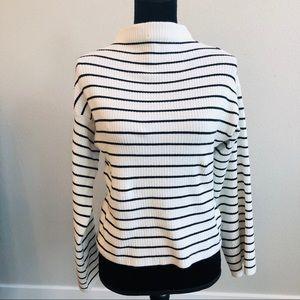 Topshop mock neck crop sweater wide sleeves